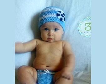 7a7a2429dbc Argentina SOCCER BABY HAT Crochet Soccer Beanie Baby Boy