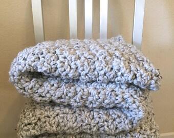 Crochet Chunky Blanket - Grey Marble