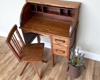Childrens Desk and Chair Set, Antique Furniture, Small Wooden Desk, Toddlers Desk, Oak Desk, Desk for Kids