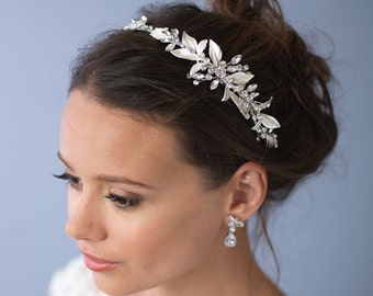 Floral Rhinestone Headband, Bridal Hair Accessory, Floral Bridal Headband, Floral Wedding Headband, Bride Headband,Bridal Headpiece ~TI-3282