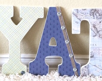 Nautical Nursery Letters - Baby Boy Nursery Decor- Wooden Hanging Letters- Wall Letters- The Rugged Pearl