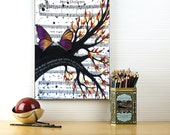 Original Butterfly Painting On Canvas - Unique Engagement Gift, Purple Acylic Butterfly Art on Sheet Music