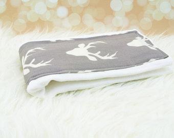 Baby Burp Cloth (Grey Deer)     burp rag, baby burp cloths, burping rag, baby shower gift, baby gift, new baby gift