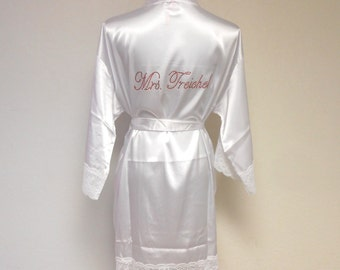 Personalized Robe - Satin Bridal Robe - Custom Bride Robe - Custom Last Name Robe - Sexy Bridal Robe - Bride Gift.