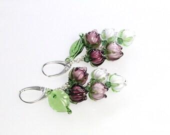 Purple sterling silver long earrings,   lampwork sra