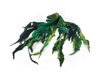 Green Scarf Designer Scarf Felt scarf Nunofelt Scarf Felt Wrap wearable art Felt Wrap Nunofelt Shawl Scarves Silk Eco scarf shawl Fiber Art