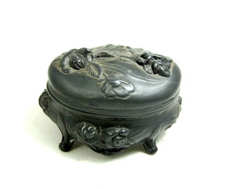 antique ring box French art nouveau metal ring casket French farmhouse decor shabby chic