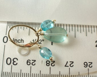 Apatite and fluorite gem dangles on 14k gold filled oval interchangeable leverbacks item 919