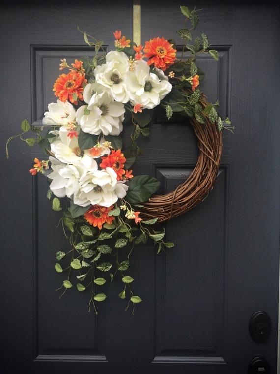 Magnolia Wreath White Door Wreaths Spring Wreaths