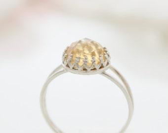 Citrine Ring   Delicate silver ring set with citrine gemstone   November's Birthstone