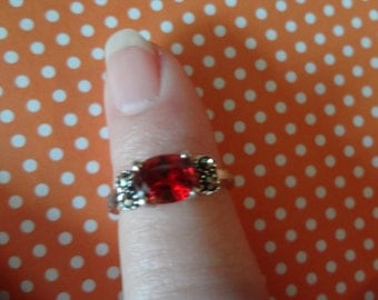 Silver Reddish Rhinestone Marcasite Ring 925 Sterling Silver Birthday Gift Anniversary Size 6 Modern Beauty Gift
