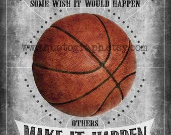 Michael Jordan Basketball Quote - photo print -  Poster Wall Art Textured Distressed Gray Grey Black Vintage Sports Boys Room Decor