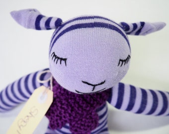 Soft sock sheep, sock animal, soft toy sheep. Plushie softie sheep lamb.  Sheryl Sheep.