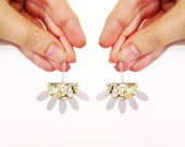 Moon Goddess dangle drop earrings - gold glitter and silver mirror