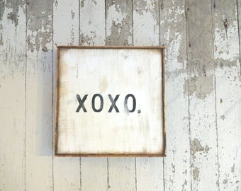 XOXO hugs and kisses rustic wood sign