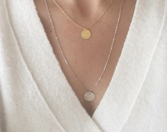 Double necklace, disc charm, Mixed metals, Silver and Gold plated