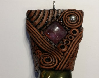 Amethyst and Bloodstone Pendant