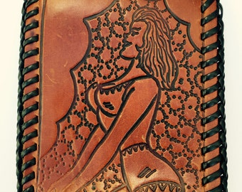1970s Tooled Leather Pin Up Wallet/Pin Up Girl Wallet/ Vintage Pin Up Girl/ Mens Tooled Wallet