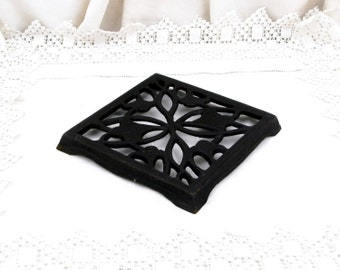 Large Antique French Cast Iron Square Trivet / Hot Plate / Heat Mat / Cottage Kitchenware / French Country Decor / Kitchenalia / Plant Stand