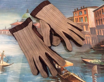 Vintage Driving Gloves - Leather Ladies Gloves - Tan Brown Winter Gloves -  Winter accessories