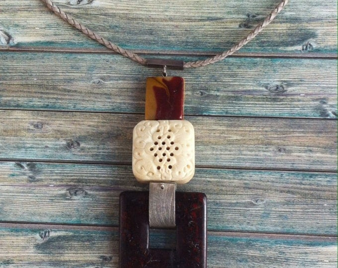 Statement Jasper and Silver necklace - tribal necklace - ethnic jewelry - natural stones - bold necklace - lockets - leather
