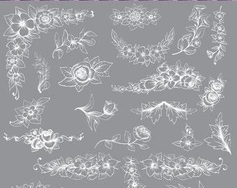 white digtal floral frames clip art flower frames borders digital floral clipart - Etsy Frames