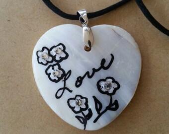Sea shell, hand painted heart.