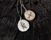 Deer antler & wooden rune pendant with Baltic amber SET OF 2 - Elder Futhark Viking Asatru Norse heathen pagan runic natural jewelry bundle