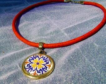 Portuguese antique tiles replica necklace, Portuguese jewelry Cork necklace, Portuguese cork, Eco-friendly, Cork, Tile, Azulejos, Pendants