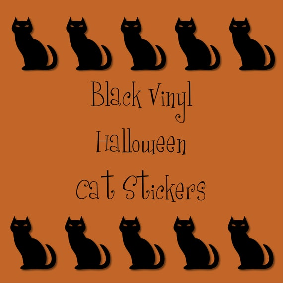 40 2 inch Black Cat Vinyl Stickers, Halloween, Envelope Seals, Party Favors, Party Glasses, Unlimited Possibilities