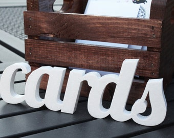 Cards Sign - Self Standing Decor - Perfect for a Card Box - Great for Weddings, Parties, Bridal Showers, Birthdays, & Baby Showers - Colors