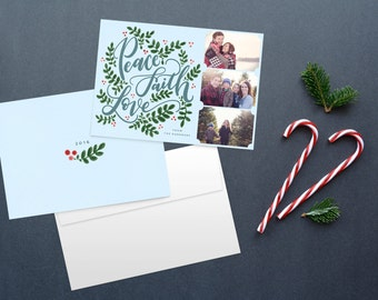 Hand lettered Christmas card, photo card, photo christmas cards, custom christmas card, printable christmas cards, multiple photo card