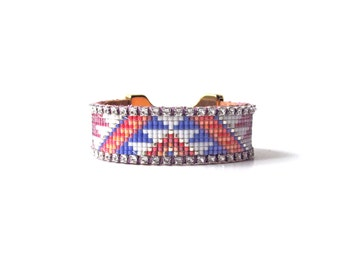 Beadloom bracelet - Tribal bead loom bracelet, friendship bracelet, beadloom bracelet, statement cuff, friendship cuff, geometric bracelet