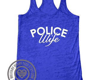 Customizable Police wife tank top, police mom tank top, police sister tank, police girlfriend, leo tank top, police workout tank