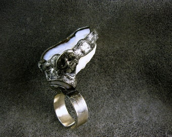 Geode Raw Crystal Ring by AMW • Adjustable WIDE Sterling SILVER Band Ring •• free shipping