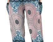 Unisex Peacock pants/Sunflower floral Hippie pants Harem Boho pants /Aladin pants  one size fits Whitemix
