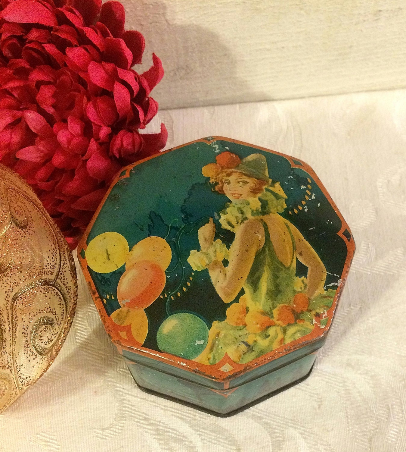 1920s flapper party girl small antique tin box lyons gala - Small tin girl ...