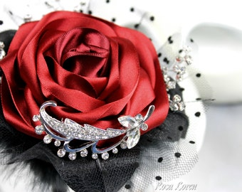Red Posy, Red Bridal Posy, Red Wedding Posy, Black & Red Wedding Accessories, Red Rose Bouquet, Alternative Bouquet