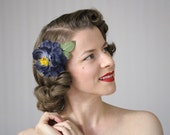 "Navy Flower Hair Clip Fascinator, Blue Floral Headpiece Accessory, 1950s Vintage Camellia - ""Moonlight Bloom"""