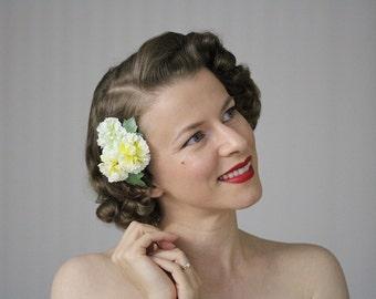 "Small Floral Clip, Yellow Hair Accessory, Hydrangea Headpiece, 1950s Fascinator Vintage Hair Piece Retro Wedding Hairstyle - ""Citrus Sorbet"""