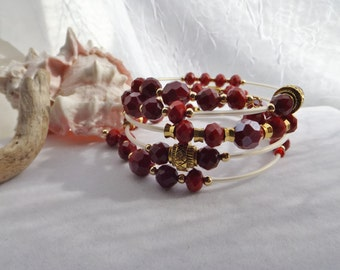 Bohemian Cuff, Bangle Memory Wire Bracelet, Red Glass and Gold Beads, White Tubing for Christmas, Valentine's Day, 4th July, Mother's Day