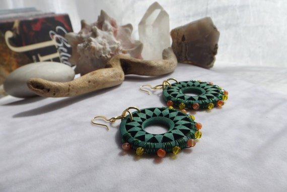 Rustic, Southwestern, Boho, Green Wooden Flower Beaded Drop, Dangle Earrings with Wire Wrapped Orange Carnelian, Yellow Glass Beads, for Her