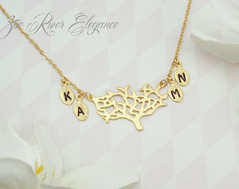 Choose gold or silver tree and leaf necklace. Personalized family tree necklace.