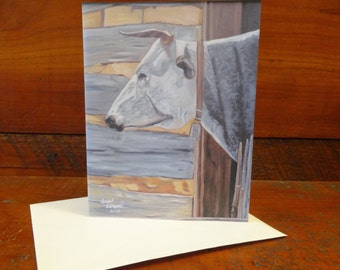 Sarah the Cow: Folded Blank Note Card, Stationary.