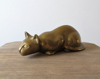 Vintage Brass Panther Wild Cat Figurine Collectible Solid Heavy Brass Mid Century