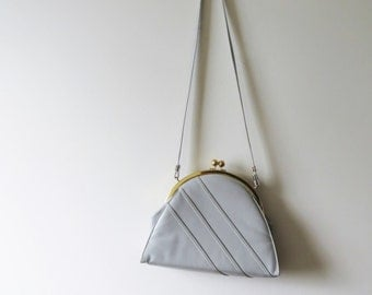 60s CORET Kisslock Purse, Light Pastel Grey Genuine Leather with Gold Frame