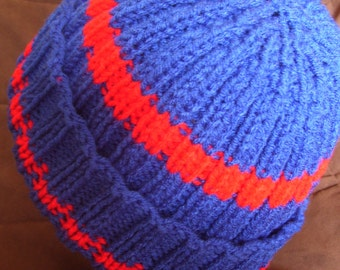 blue with red stripes knit hat - adult - size large