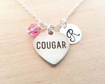 Cougar Necklace - Initial Necklace - Personalized Necklace - Sterling Silver Jewelry - Gift for Her
