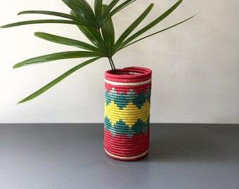 vintage woven vase boho southwestern