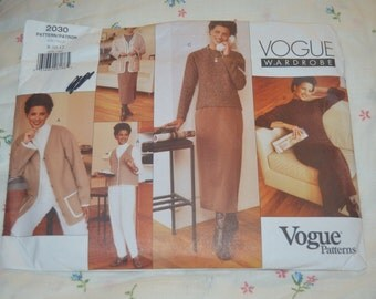 Vogue 2030 Misses / Misses Petite Jacket Vest Dress Top Skirt and Pants Sewing Pattern - UNCUT - Sizes  8 10 12